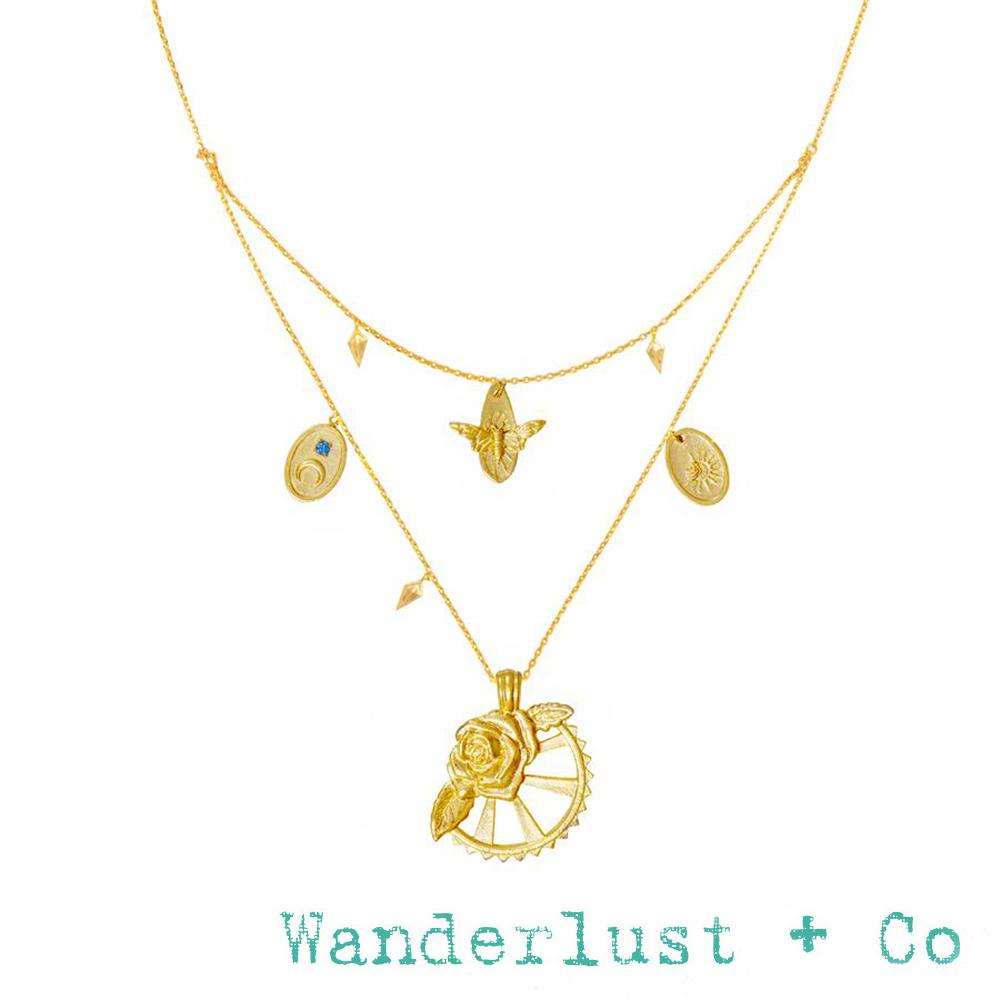 Wanderlust+Co 澳洲品牌 玫瑰花蜜蜂X太陽月亮 多墜雙層金項鍊 REVERIE