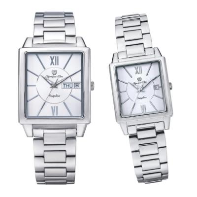 Olympia Star 奧林比亞之星 經典時尚羅馬方型對錶-銀 58065