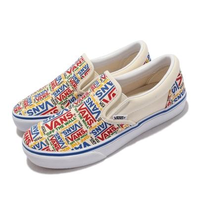 Vans 休閒鞋 V98CF P.LOGO Slip-On 女 簡約 街頭風格 無鞋帶 好穿脫 懶人鞋 白 彩 6113290003