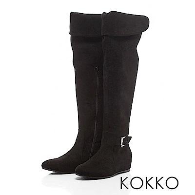 KOKKO - 戀之冬曲2 WAY內增高長靴 - 深邃黑