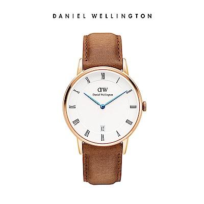 DW 手錶 官方旗艦店 34mm玫瑰金框 Dapper 淺棕真皮皮革錶