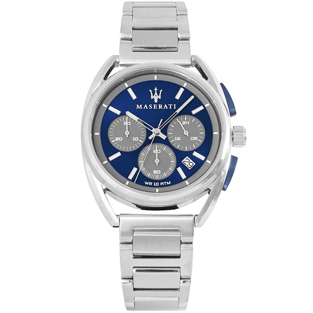 MASERATI 瑪莎拉蒂TRIMARANO三眼計時手錶-藍X銀/39mm