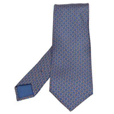 HERMES 經典TWILLBI系列橢圓排列圖案純絲領帶(孔雀藍X橘)