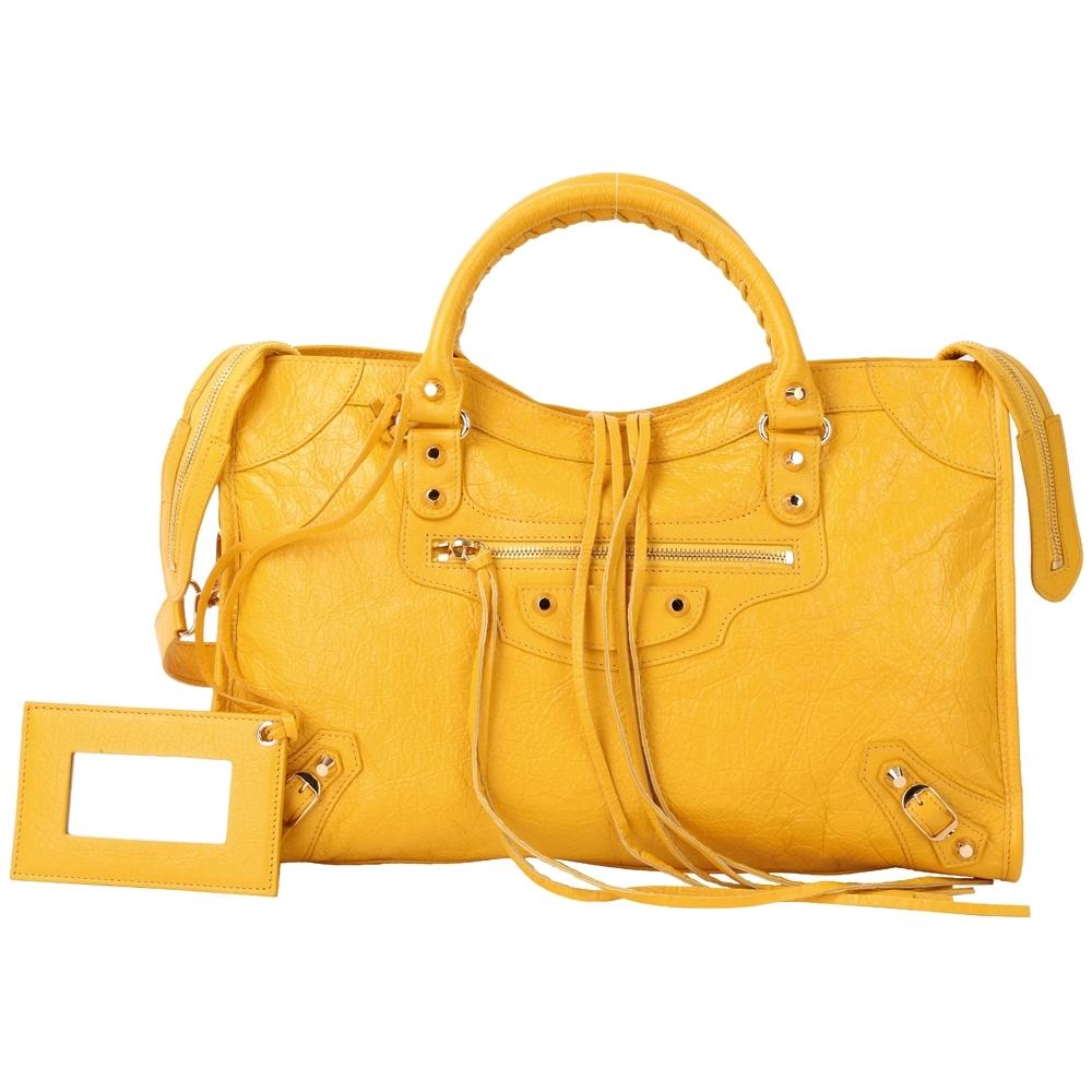 BALENCIAGA Classic Gold City 黃色羊皮金釦機車包(展示品)