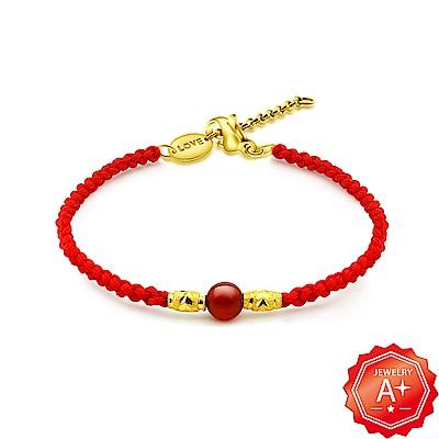 A+ 以愛為名 金彩一生 千足黃金轉運珠紅繩手鍊