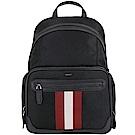 BALLY CHAPMAY 紅白條紋多功能厚磅帆布後背包(黑色)