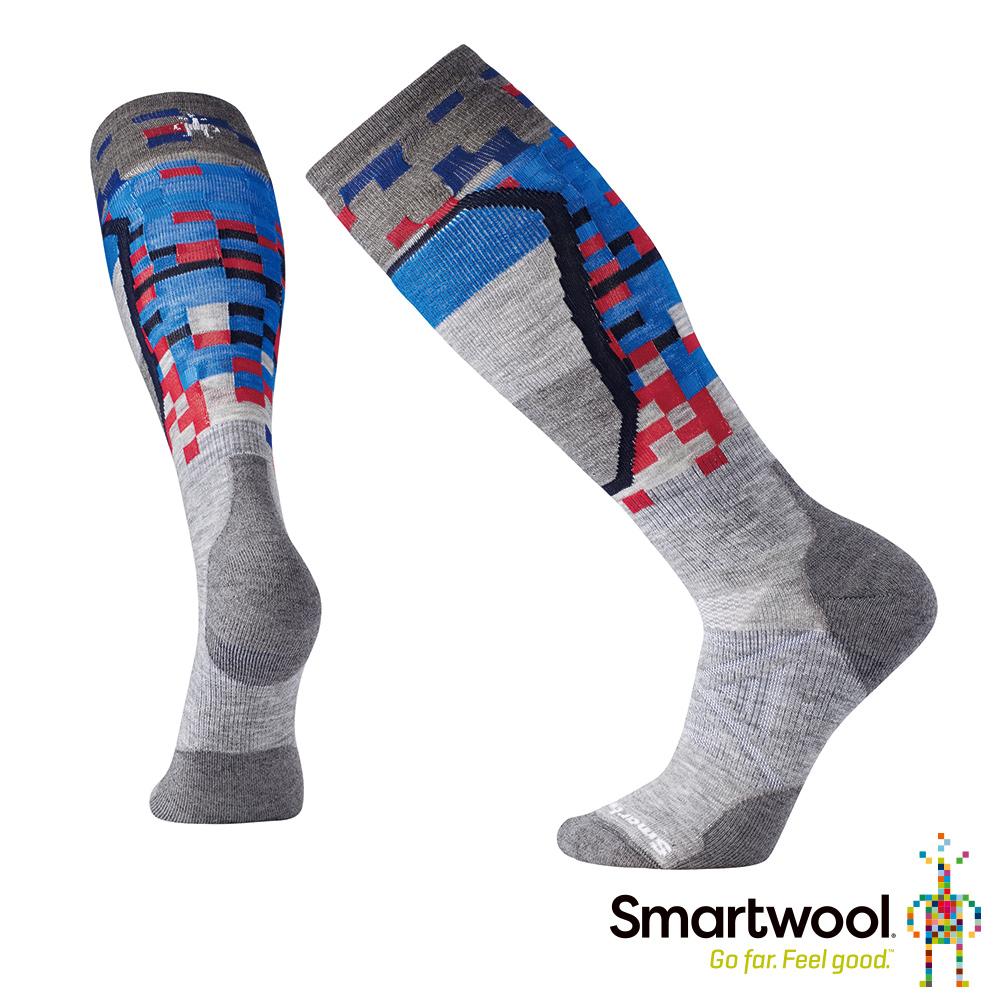 SmartWool PhD滑雪中級減震印花高筒襪 淺灰色