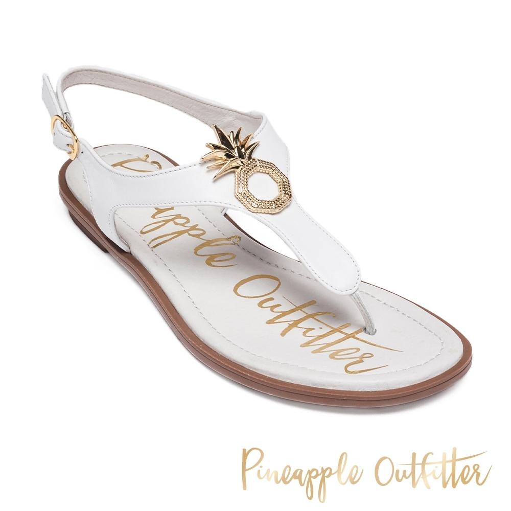 Pineapple Outfitter 時尚皮革金屬LOGO夾腳拖涼鞋-白色