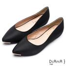DIANA 魅力典雅--米蘭防潑水布尖頭平底鞋-黑
