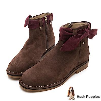 Hush Puppies CATELYN 設計感綁帶沙漠靴-深棕