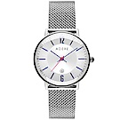 ADEXE 英國時尚手錶 MAC日期顯示系列 銀錶盤x銀錶框米蘭革錶帶33mm