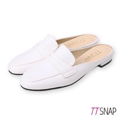 TTSNAP訂製款-修長顯瘦半拖方頭穆勒鞋 白