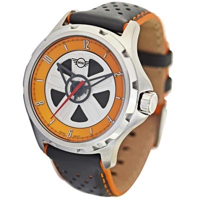 MINI Swiss Watches 石英錶 44mm 橘底方向盤錶面 深灰透孔皮錶帶
