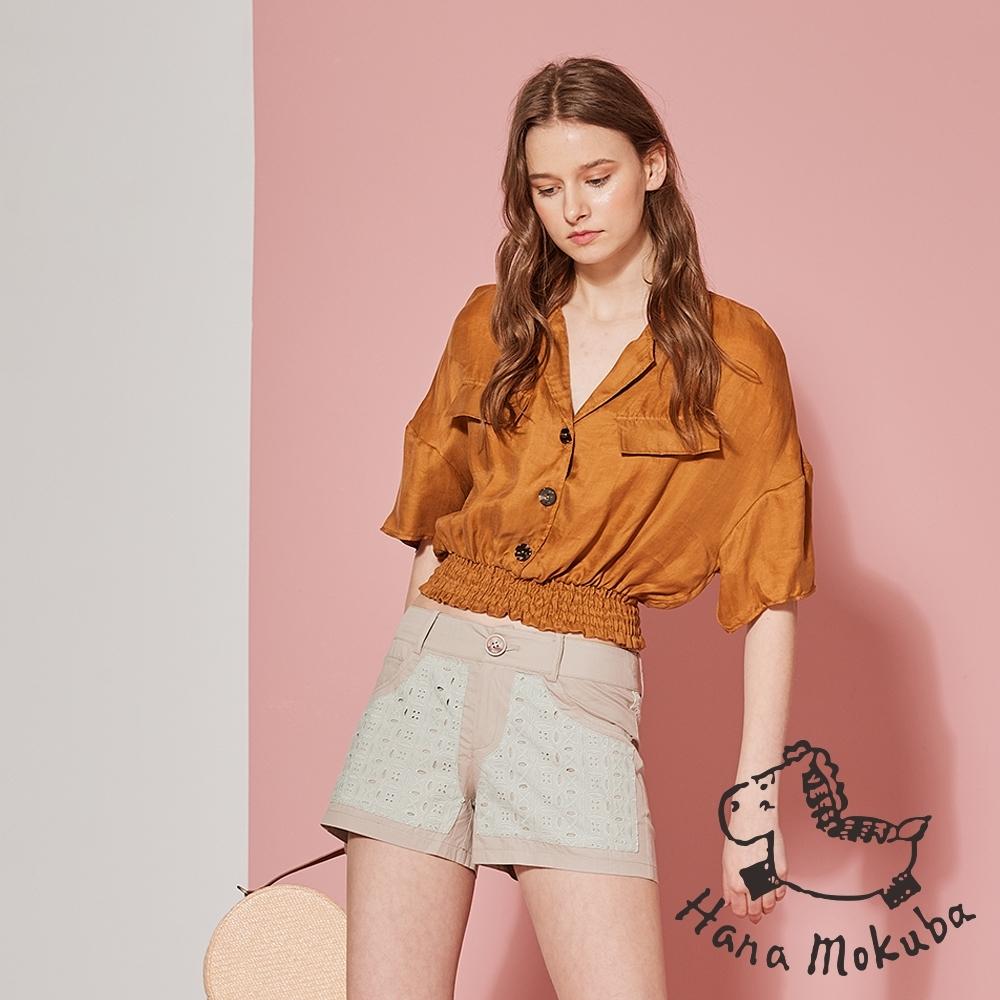 Hana+花木馬 蕾絲雕花拼接造型短褲-燕麥色