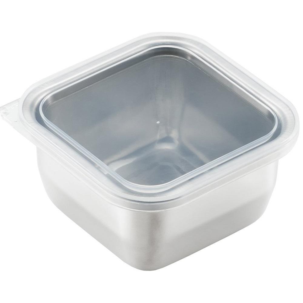 日本 吉川Yoshikawa透明蓋不鏽鋼保鮮盒 迷你/520ml