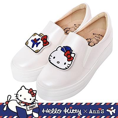 HELLO KITTY X Ann'S一起去旅行可隨意交換貼布刺繡厚底懶人鞋 -白