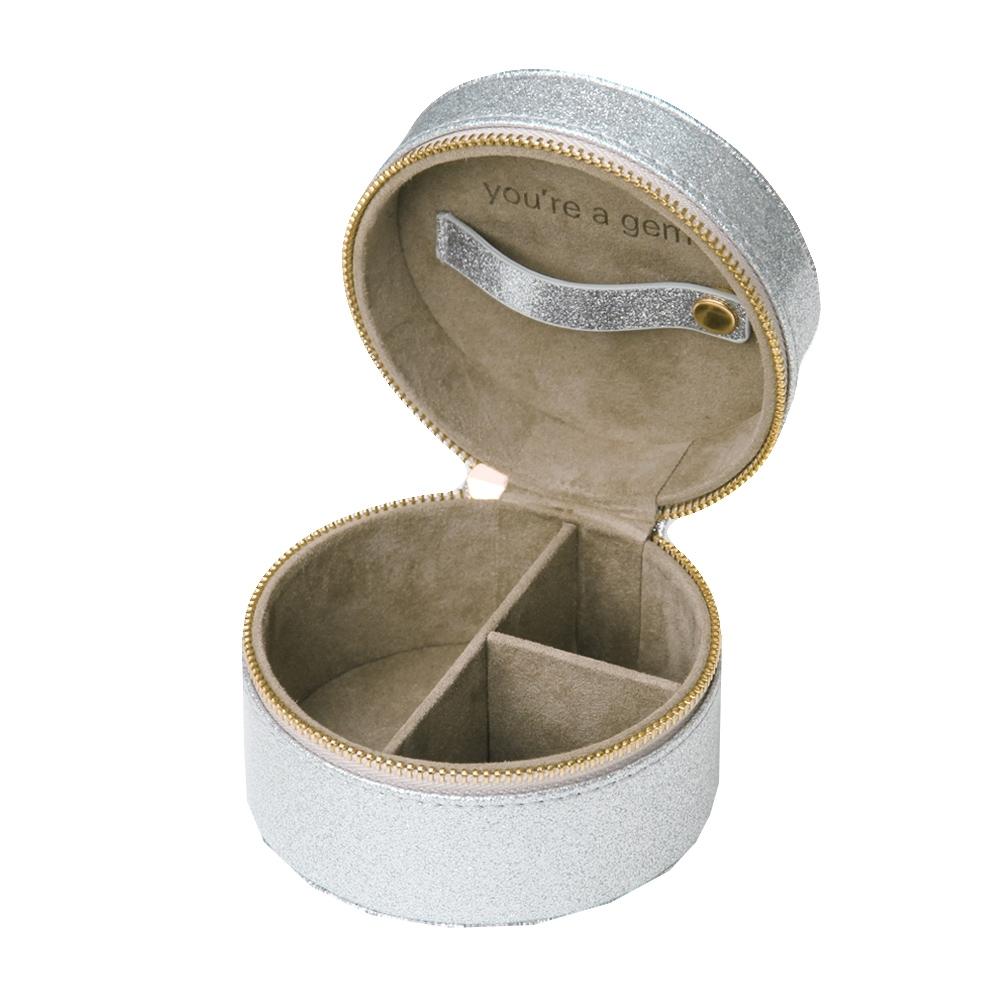 Caroline Gardner 輕量旅行圓型飾品收納盒 晶鑽銀