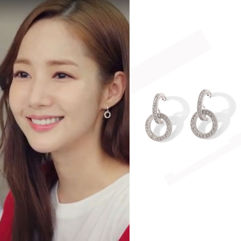 梨花HaNA 無耳洞韓國金秘書為何那樣雙環鑽圈耳環夾式