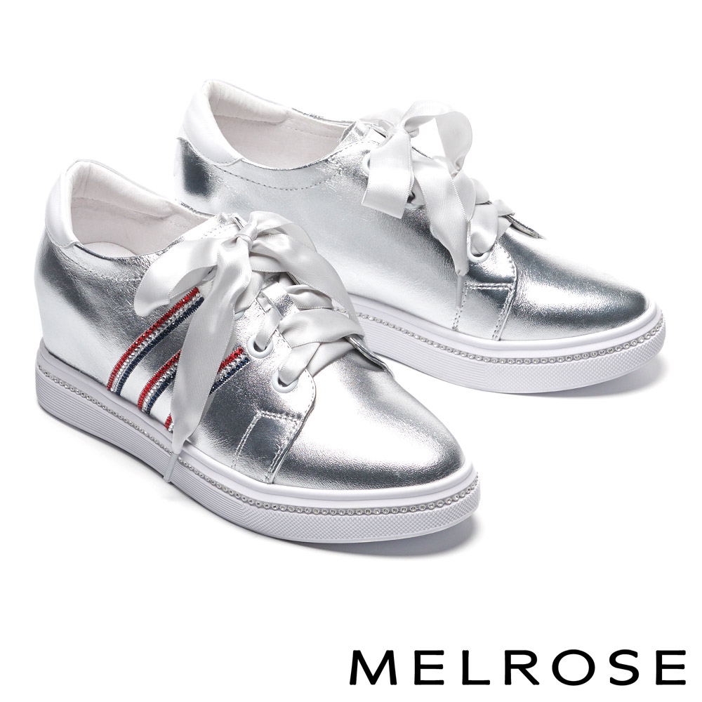 休閒鞋 MELROSE 時尚潮感電繡晶鑽緞布帶全真皮內增高休閒鞋-銀