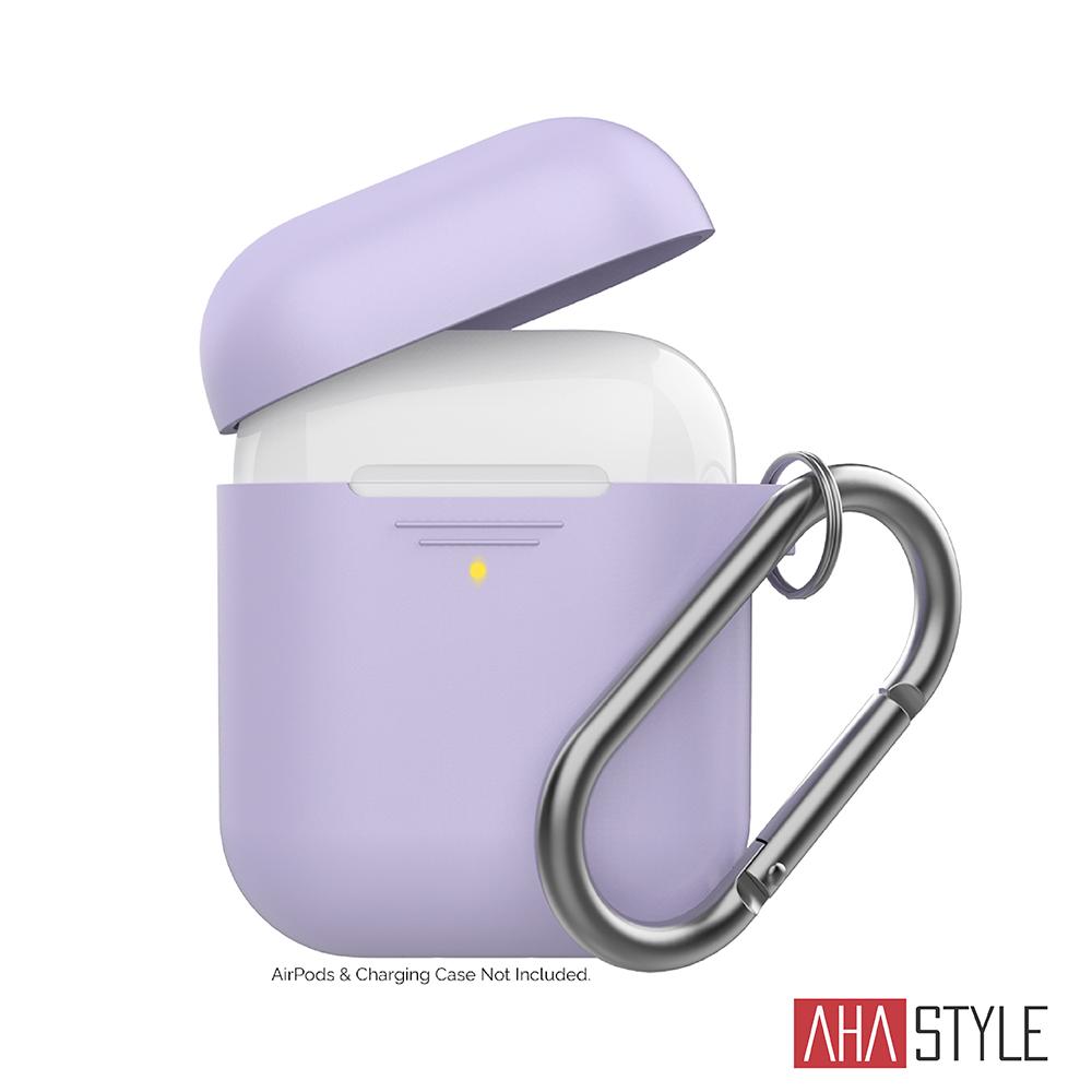 AHAStyle AirPods 1&2代矽膠保護套-紫色 掛勾款 1.4mm超薄款