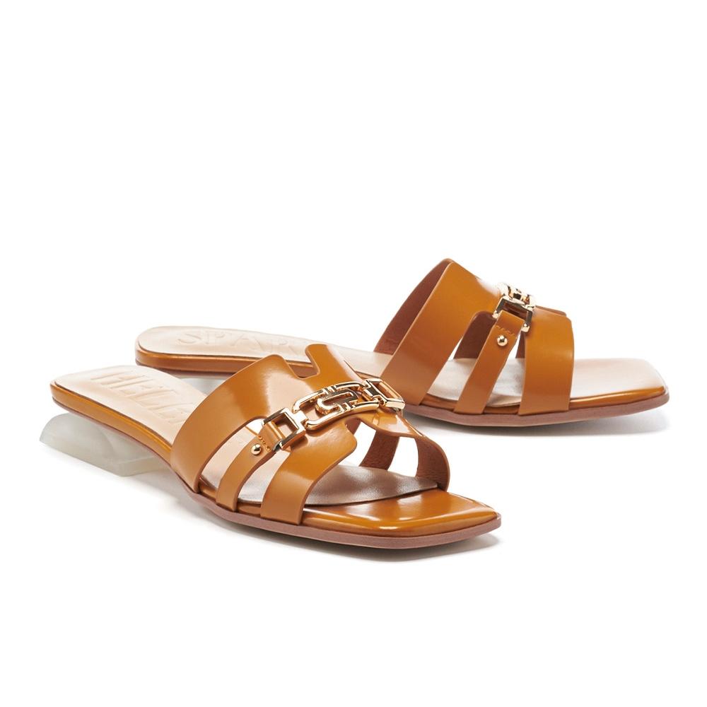 拖鞋 HELENE SPARK 輕奢金屬風鏈釦開邊珠軟牛皮方頭低跟拖鞋-黃