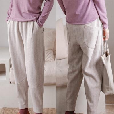 休閒褲-加厚人字紋條紋寬鬆蘿蔔哈倫直筒-設計所在