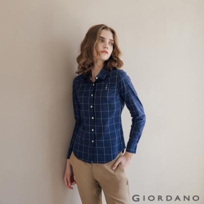 GIORDANO 女裝經典刺繡彈力牛津紡長袖襯衫-95 海軍藍/白格紋
