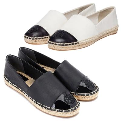 [時時樂限定] TORY BURCH COLOR-BLOCK 牛皮拼接草編平底鞋