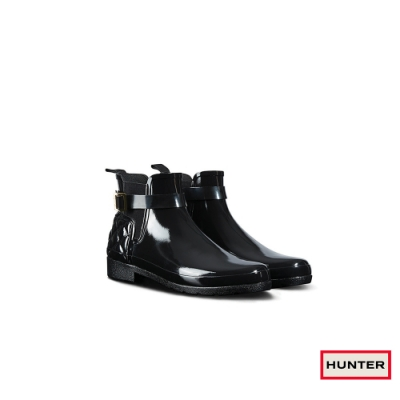 HUNTER -   女鞋 - Refined菱格紋亮面踝靴-黑