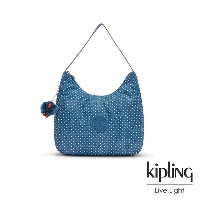 Kipling 復刻單寧水玉藍拉鍊造型開口手提肩背包-ISIDORA