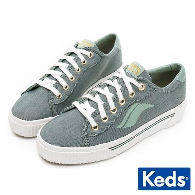 Keds CREW KICK ALTO 復古金屬釦厚底帆布鞋-抹茶