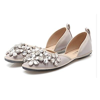 韓國KW美鞋館 甜美小花造型舒適百搭平底鞋-灰色