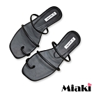 Miaki-拖鞋時尚韓風平底涼鞋-黑