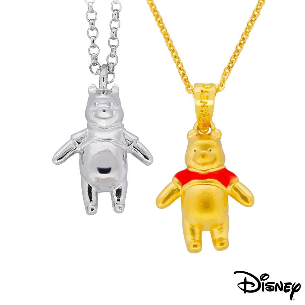 迪士尼系列金飾 立體純銀墜子-樂活維尼款+立體黃金墜子-樂活維尼款