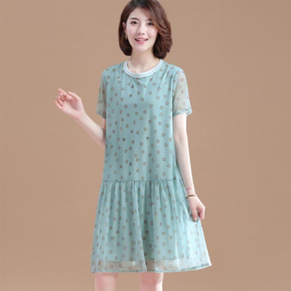 初色  圓領印花網紗連衣裙-豆綠色-(L-2XL可選)