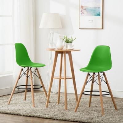E-home EMSH北歐經典造型吧檯椅 綠色