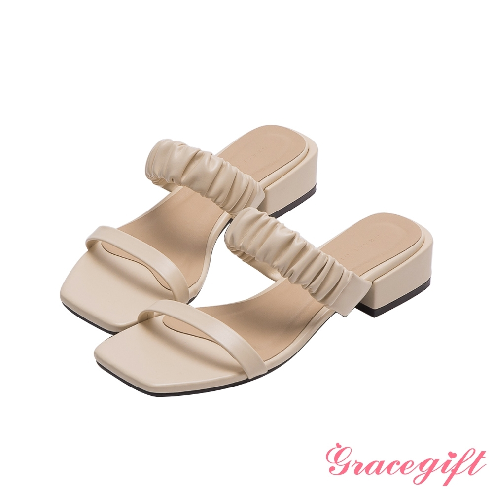 Grace gift-雙帶方頭低跟涼拖鞋 米白