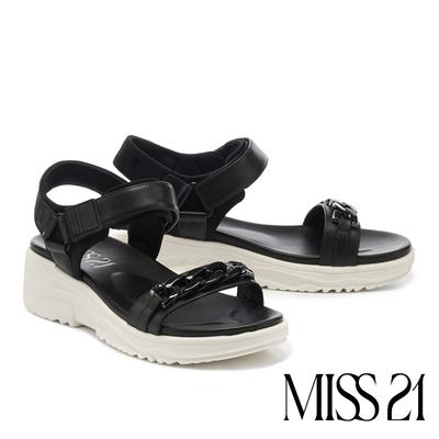涼鞋 MISS 21 率性休閒異材質金屬粗鏈魔鬼氈厚底涼鞋-黑