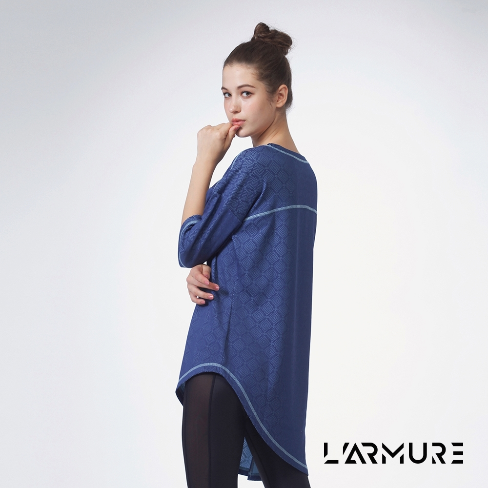 L'ARMURE 女裝 花磚緹花長版T-SHIRT (藍色)