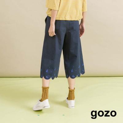 gozo-鏤空字母花邊七分褲(兩色)