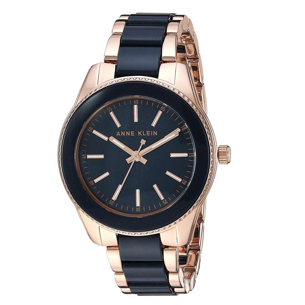 Anne Klein 威尼斯戀人氣質陶瓷錶帶腕錶-深藍色x37mm AK-3214NVRG
