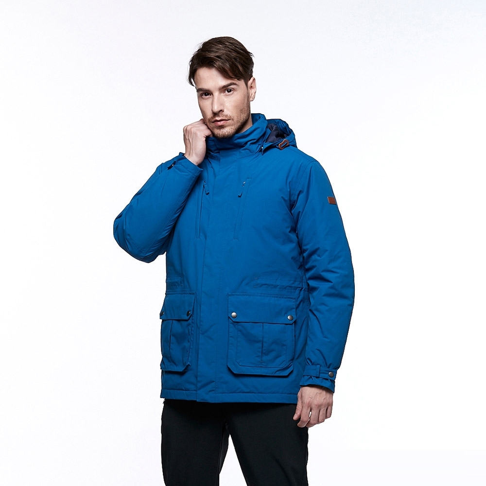 【HAKERS 哈克士】男 防水外套(石藍色)