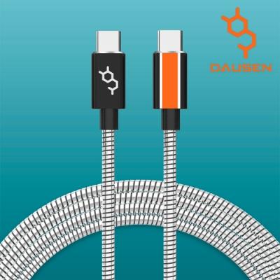 DAUSEN 多巴胺 120CM USB TYPE-C to USB TYPE-C 傳輸充電線 光潔抗菌不鏽鋼 PD 快速充電專用