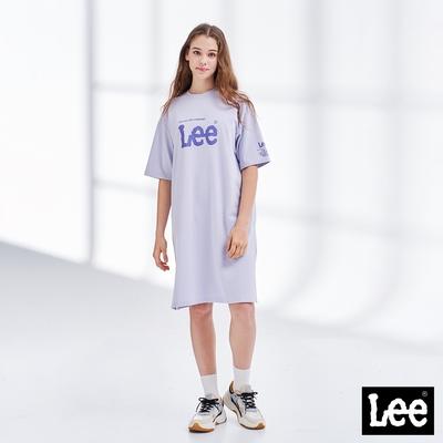 Lee 大LOGO開岔圓領長版休閒洋裝 紫色(網路獨賣款)