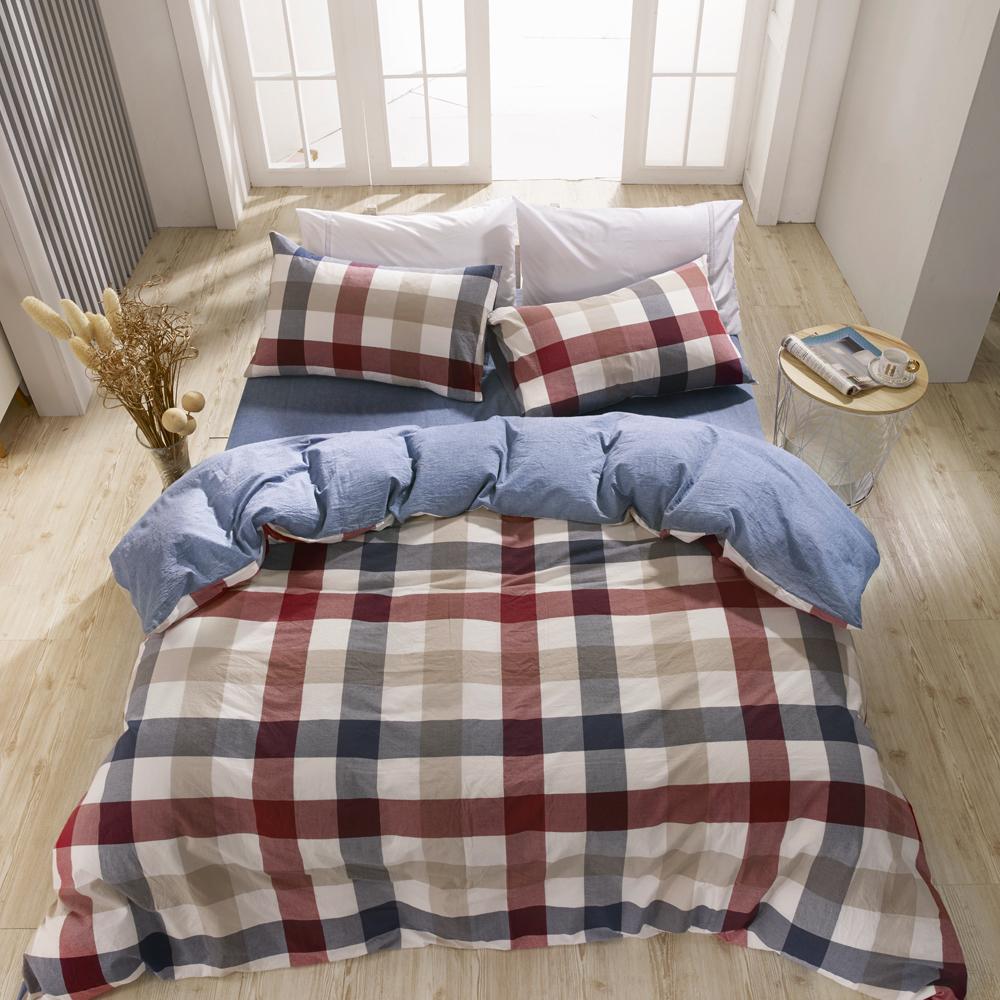 鴻宇 雙人特大床包薄被套組 色織水洗棉 英格蘭 台灣製