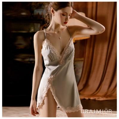 性感睡衣 DRAIMIOR絲滑蕾絲花邊開叉吊帶睡裙。綠色 久慕雅黛