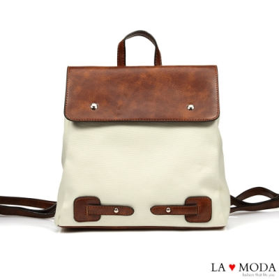 La Moda 舒適百搭大容量拼接設多背法肩背斜背後背包(棕)