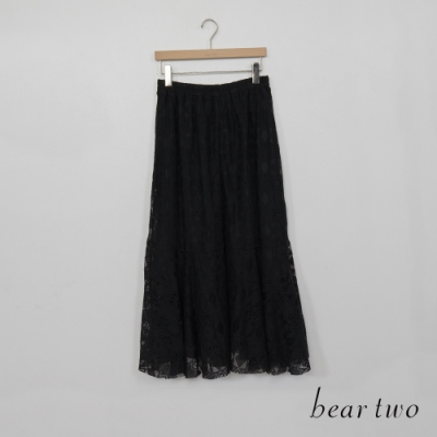bear two-幾何花紋造型公主風長裙-黑