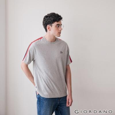 GIORDANO 男裝G-MOTION拼接織帶撞色短袖T恤 -03 中花灰