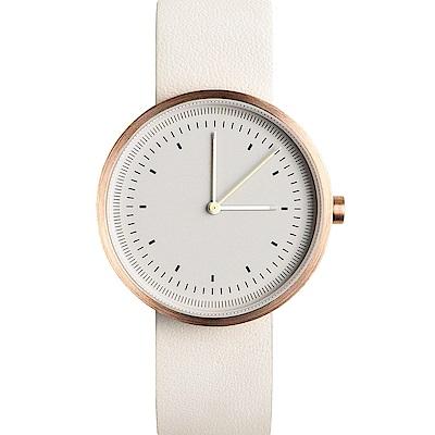 AÃRK 經典時光旅人真皮革腕錶 -灰色/36mm